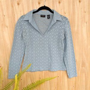 New York and Company blue perforated blouse